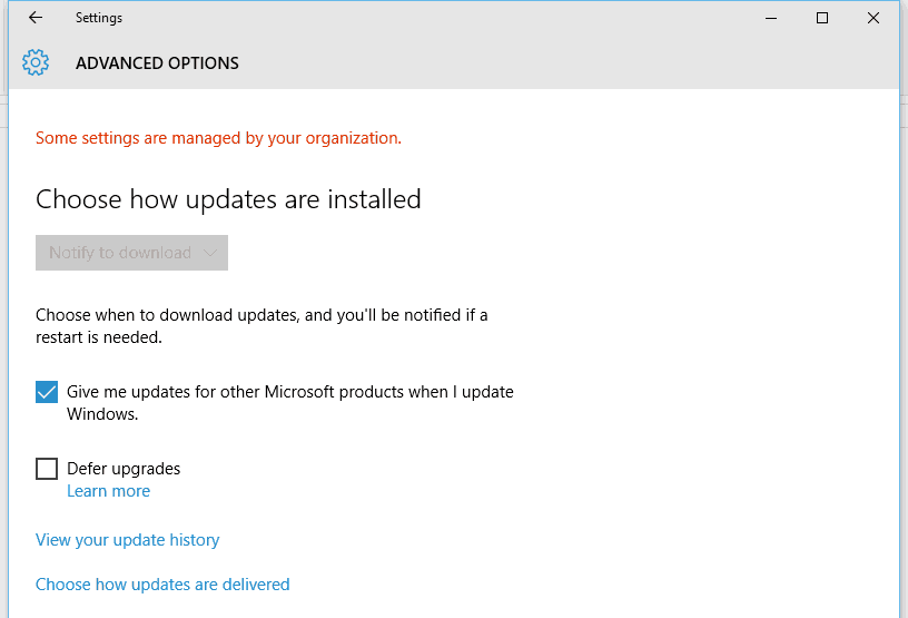 Configure Windows 10 Automatic Updates