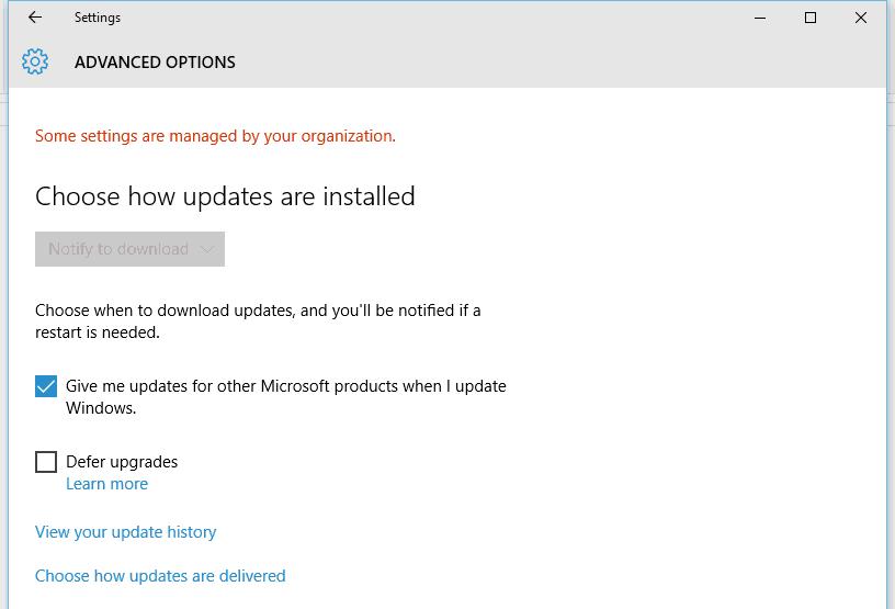Configure Windows 10 Automatic Updates
