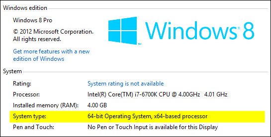 Running 32-bit or 64-bit Windows 8