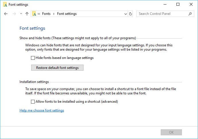 Restore Default Fonts in Windows 10