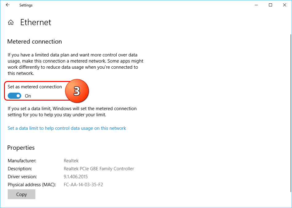 Ethernet Metered Connection Setting Windows 10
