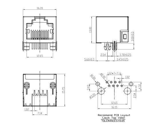 rj45 modular jack wiring diagram land rover discovery radio connectors auto electrical 90 degree connector without led 1