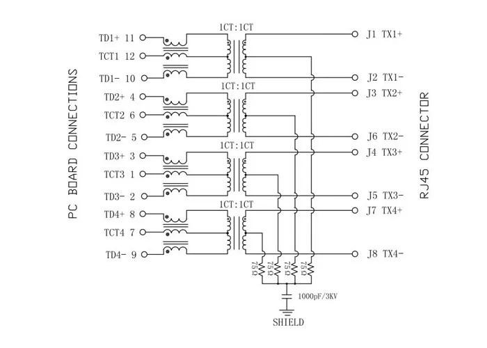85793-1006 Gigabit Magnetic Jack 1x1 LED 1000base-t Rj45