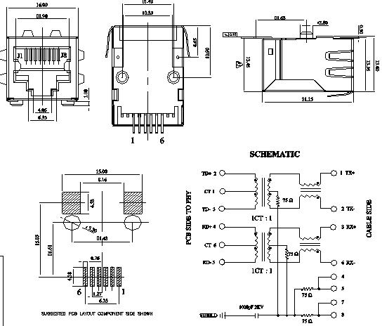 Pulse JV011I21NL Surface Mount RJ45 Single Port 100 Base