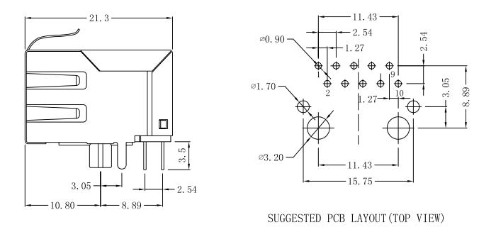 TMRJ48F-44NDXNL-L , LPJG0823CNL 1000Base-T Socket Rj45