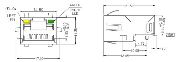 7498011122AR Sunk PCB RJ45 Low-Profile Magnetic Jack 10