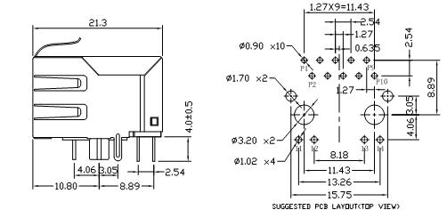 Con Rj45 POE+ Mag 1x1 R/A Shielded W/LED 700mA Eah Pair 10