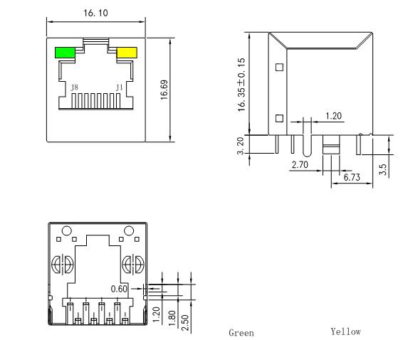 1.27 mm Pin Pitch Rj45 8Position Single Port Shielded
