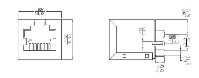 SI-16003-F Vertical Entry RJ45 Jack MSP430F2274IRHAR