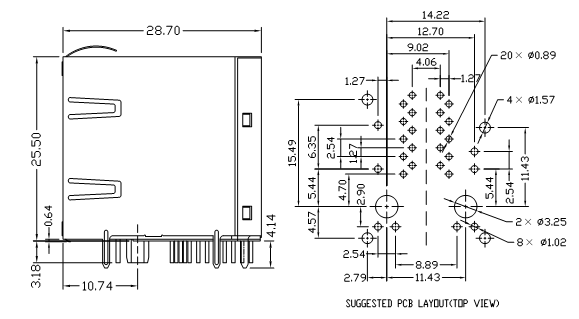 0879-2G1R-Y6 Stacked RJ45 2x1 Magjack Connector Shielded