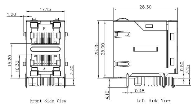 DA1T002I3 Stacked RJ45 2x1 Integrated Magnetics 1000Base