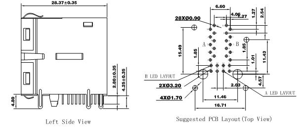 LPJG17610AANL Stacked RJ45 Cross XMH-2116D3018 Dual 2x1