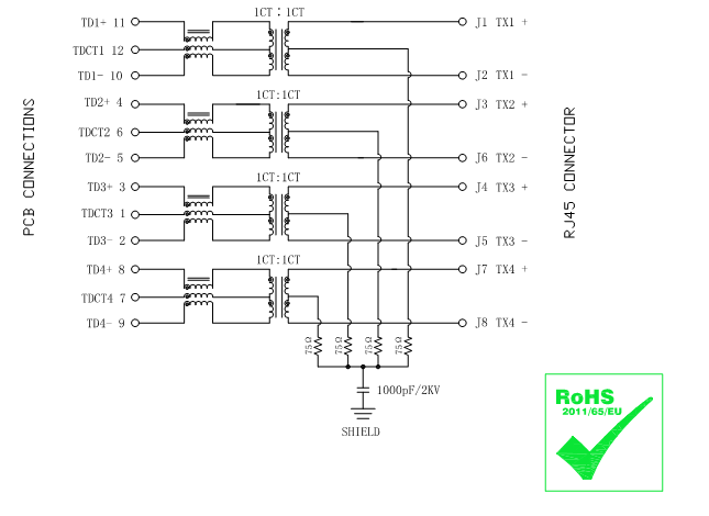 L869-1A1T-32 Gigabit Magjack Ultra Low Profile Rj45