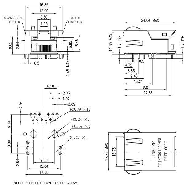 1368458-2 Low Profile Rj45 Connector 10/100 Base-T Magjack