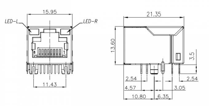 Integrated Magnetics Through Hole RJ45 Female Connector