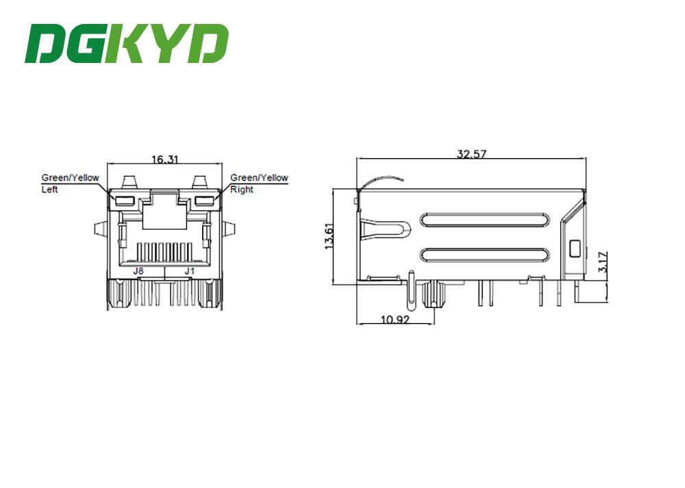5Gbit / s RJ45 magnetics jack ethernet industrial