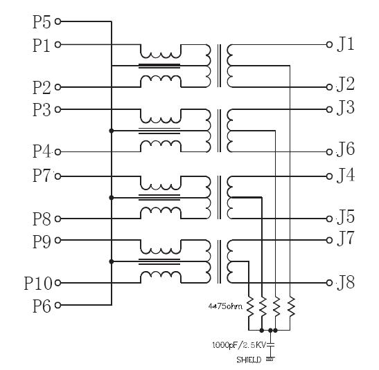 1 X 2 Port Gigabit Ethernet RJ45 Integrated Magnetic