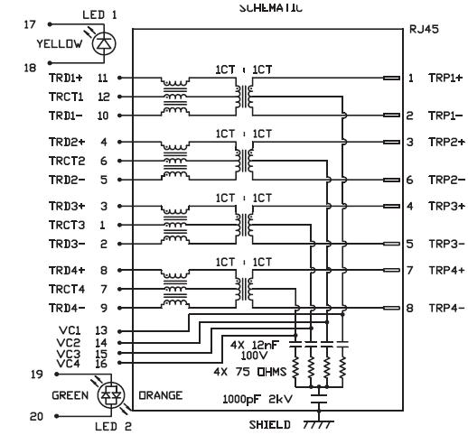 SINGLE PORT GIGABIT RJ45 MAGNETIC JACK PoE MAGNETICS ACC
