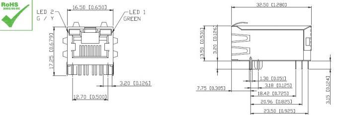 Ethernet jack RJ45 Single Port 10/100/1000base-T/TX For