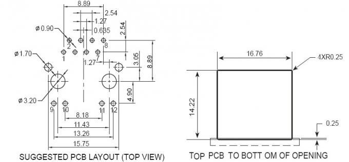 PCB RJ45 Modular Jack LED Tab Down