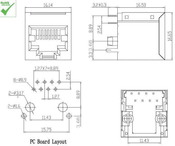 180° Shielded RJ45 LAN Jack without transformer for