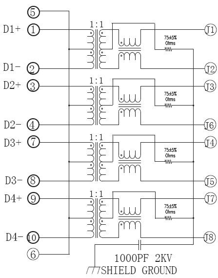 1 x 4 Port Switch RJ45 Ethernet Jack without Led , Side