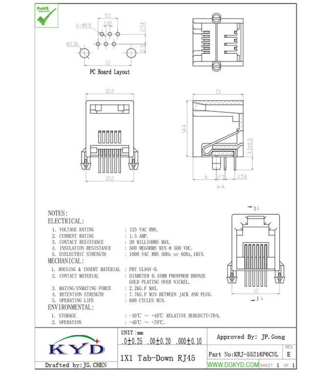 Black plastic housing telephone jack 6p6c rj11 connector