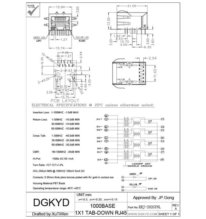 1000Mb Latch Down cat6 RJ45 Modular Jack Integrated