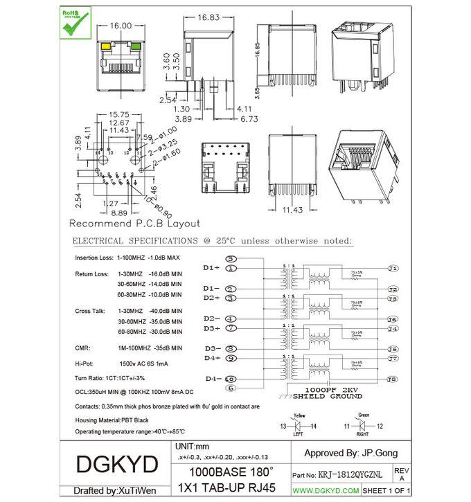 Gigabit Magnetic modular Rj45 Lan Jack , 1000Mb Metal rj45