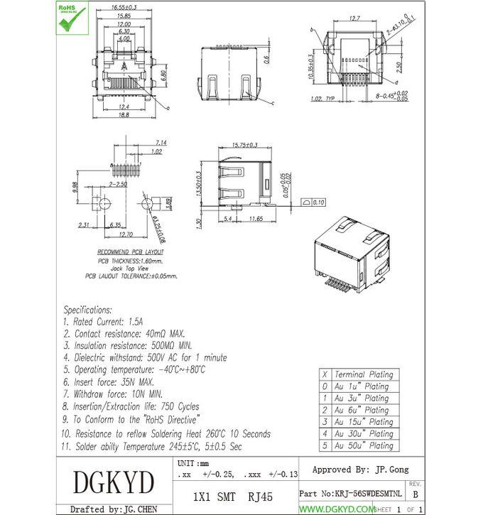 Customized Pcb Mount SMD / SMT Low Profile RJ45 Single