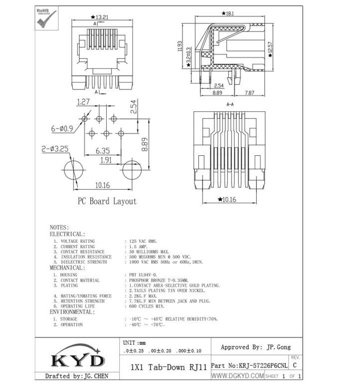 Unshield 6p6c Rj12 Phone Jack RJ11 Jack Single Port With