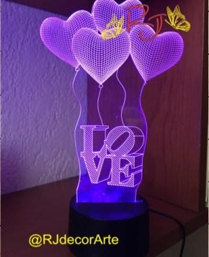 lampara led 3d corazones globo