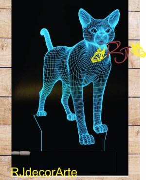 lampara led 3d gato