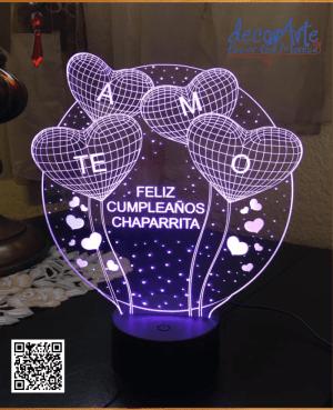 lampara led personalizada corazones