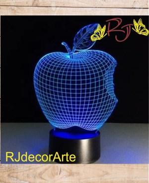 lampara led 3d manzana