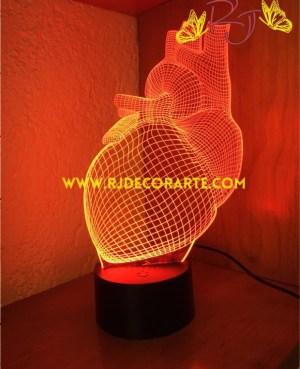 Lampara led corazón 3D