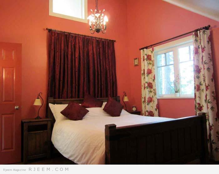 ديكورات غرف نوم باللون الاحمر روعه