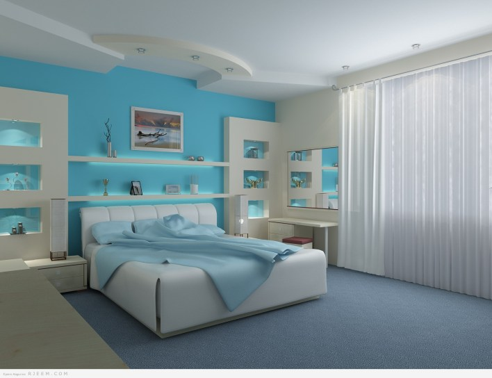 ديكورات غرف نوم زرقاء رائعة