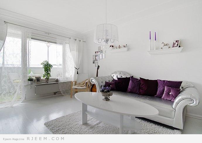 ديكورات غرف معيشة باللون الابيض رائعة