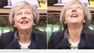 Photo of فيديو: ضحكة رئيسة وزراء بريطانيا تثير الرعب