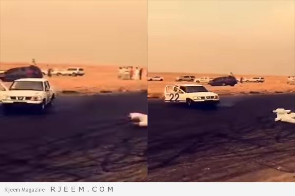 Photo of شاهد: تفحيط ينتهي بكارثة وسقوط راكب من باب السيارة