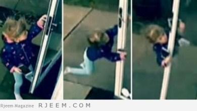 Photo of شاهد: طفلة تحاول فتح باب المنزل والرياح القوية تجبرها على التحليق بالهواء