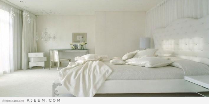 غرف نوم باللون الابيض غامق