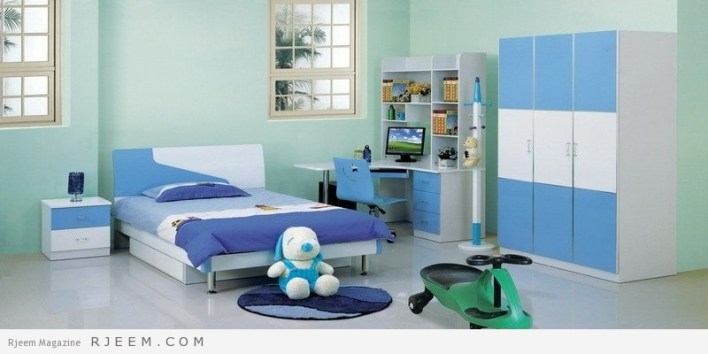 ديكورات غرف نوم اولاد باللون الازرق