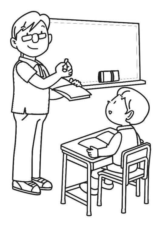 رسومات جاهزة للتلوين عن يوم المعلم رسم و تلوين معلم و معلمة