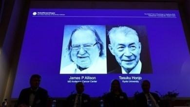 Photo of أمريكي وياباني يفوزان بجائزة نوبل للطب لعام 2018