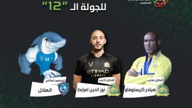 Photo of مدرب النصر هيلدر ونجمه امرابط وجمهور الهلال يحصدون جوائز الجولة 12