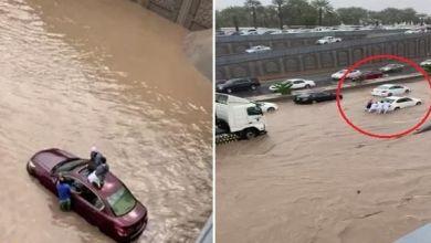 Photo of شاهد السيول تغمر أنفاق الدائري الثاني طريق الملك عبدالله بالمدينة المنورة
