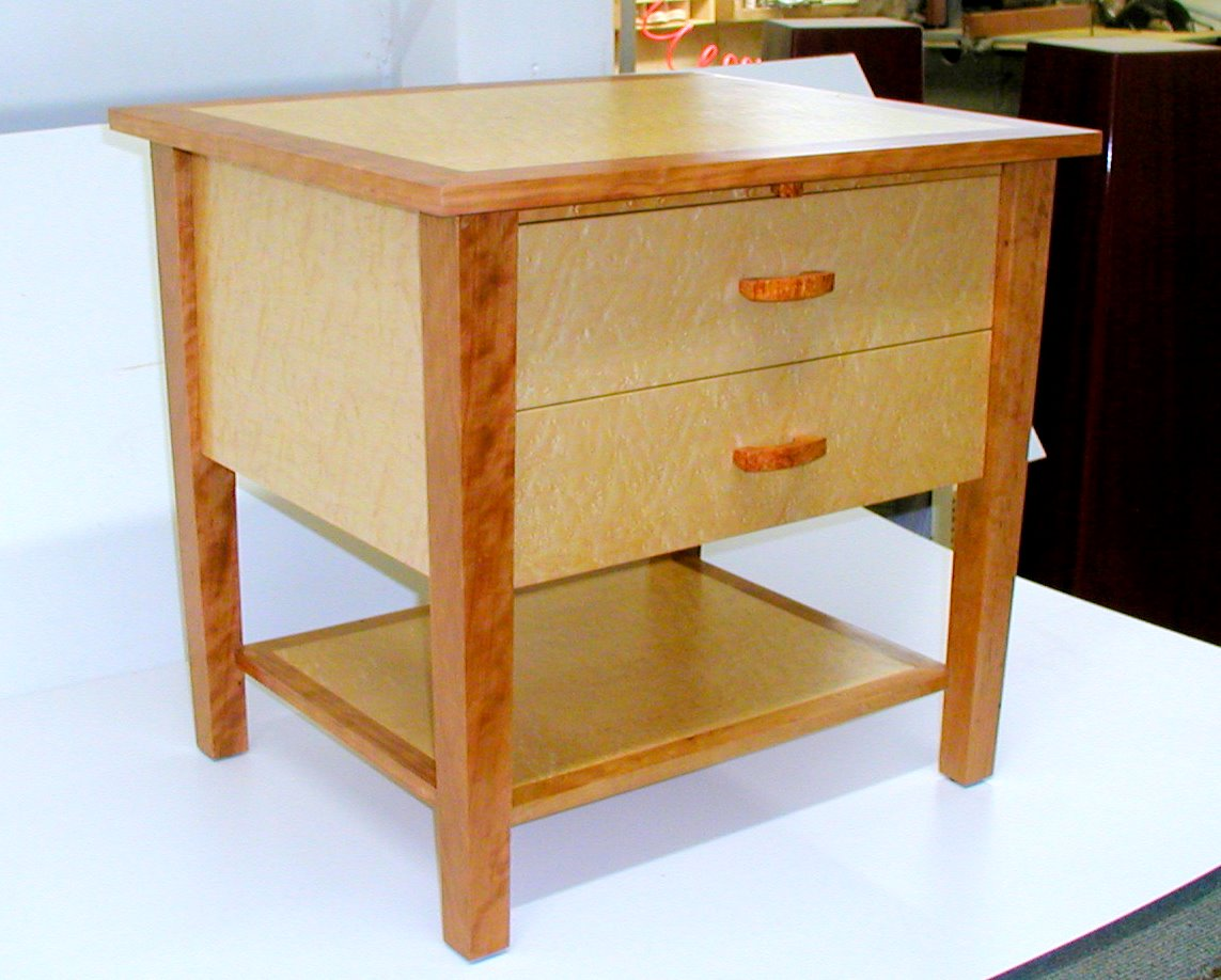 Custom Made Cherry And Maple Nightstand Rj Fine Woodworking