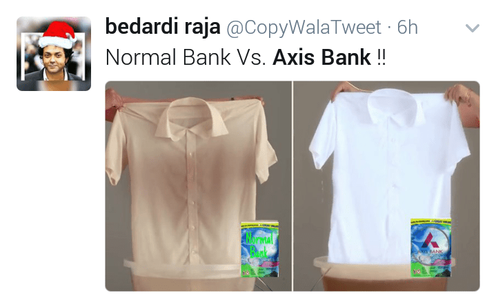 Funny tweet axis bank